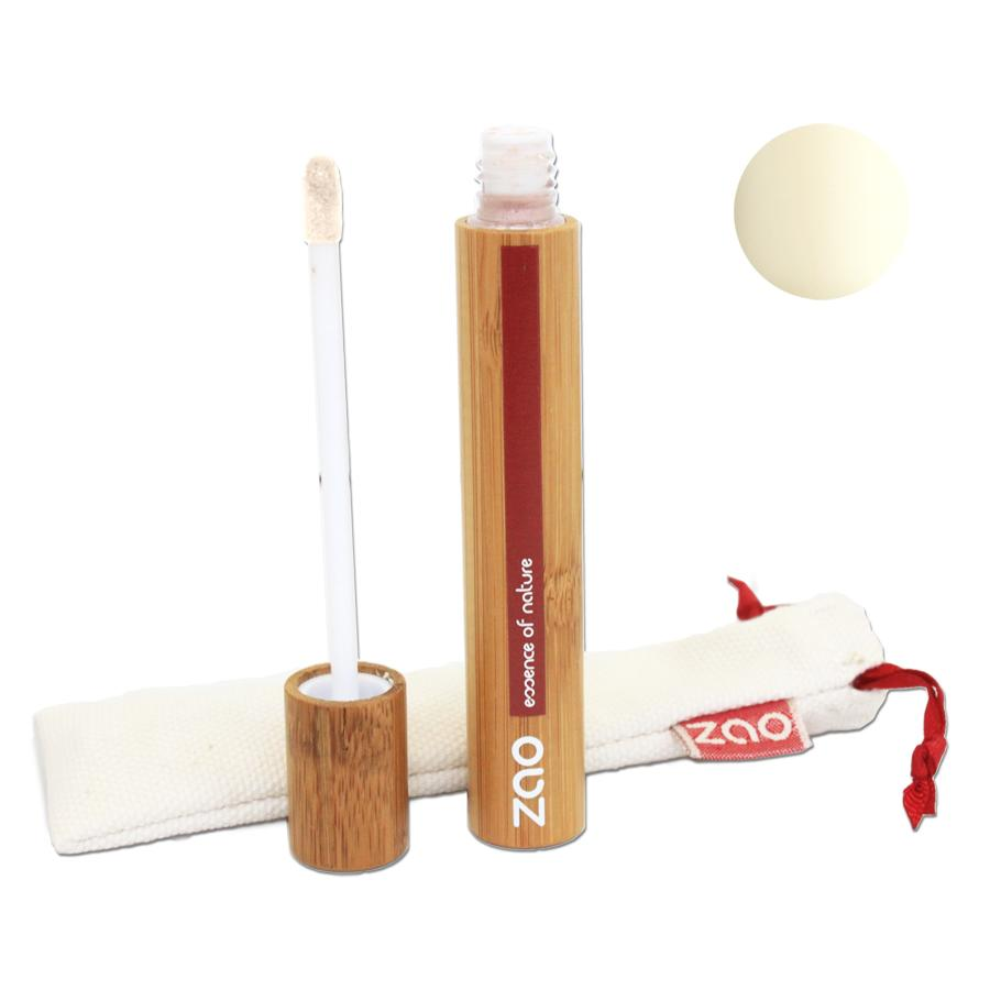 Open bamboo tube liquid lip balm shown with sponge applicator and natural cotton drawstring pouch, label shows Zao