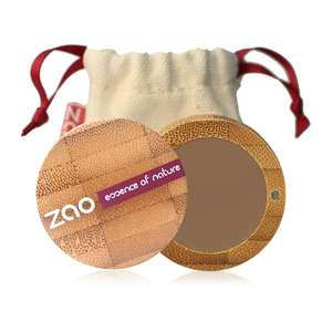 Blonde eyebrow powder shown in open bamboo compact case with natural cotton pouch shown behind, label shows Zao
