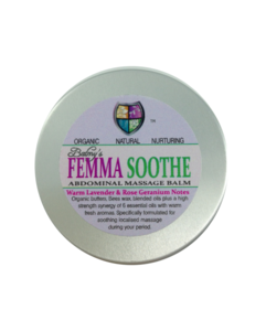 silver aluminium tin with screw lid, pale lilac round label showing Femmasoothe in bright pink and green text, abdominal massage balm