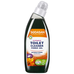 Clear plastic bottle containing dark green toilet cleaning gel.  Orange label shows sodasan toilet cleaner power gel