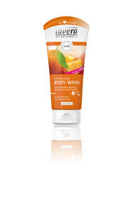 orange plastic squeezy bottle showing lavera revitalising body wash orange and sea buckthorn