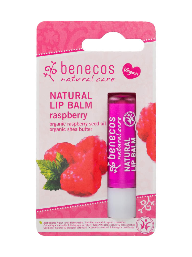 Pink card blister packet with dark pink lip balm, label shows benecos natural lip balm raspberry