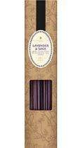 natural cardboard sleeve with brown flower decor, film window displaying purple sticks, label shows lavender and sage incense sticks