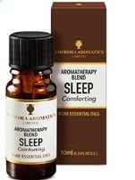 brown glass bottle with black cap, white label showing aromatherapy blend sleep comforting