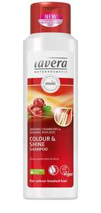 white plastic bottle with red label showing cranberries, label text shows lavera colour and shine shampoo organic cranberry and avocado