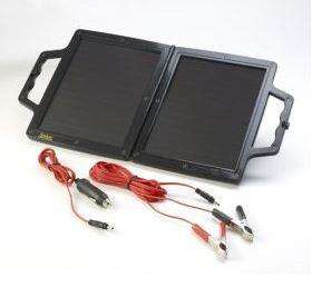 open black solar power charger with leads