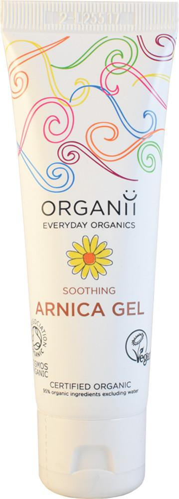 white plastic squeezy tube with flip top cap, image of yellow flower, text shows organii soothing arnica gel