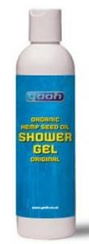 White plastic bottle, blue label showing Yaoh organic hemp seed oil shower gel original