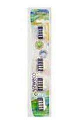 Clear plastic packet card backed containing 4  toothbrush heads, labelling shows yaweco medium nylon