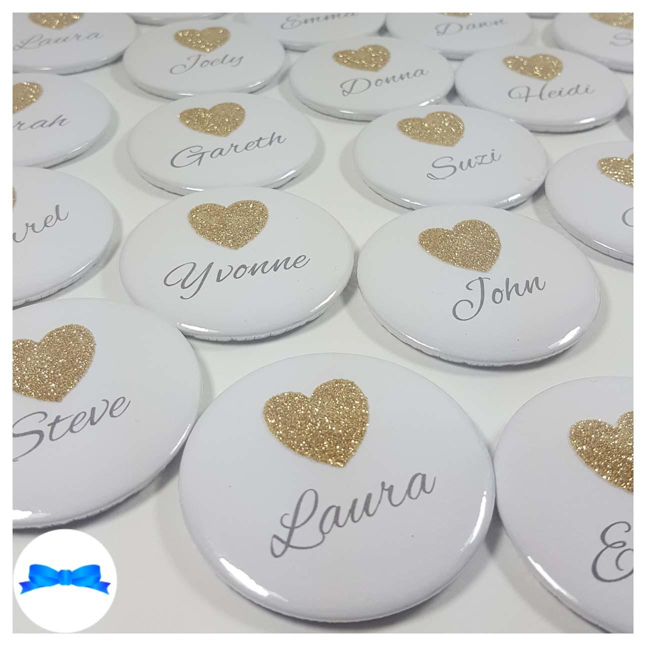Personalised Name Party Badges With Glitter Hearts  Birthday