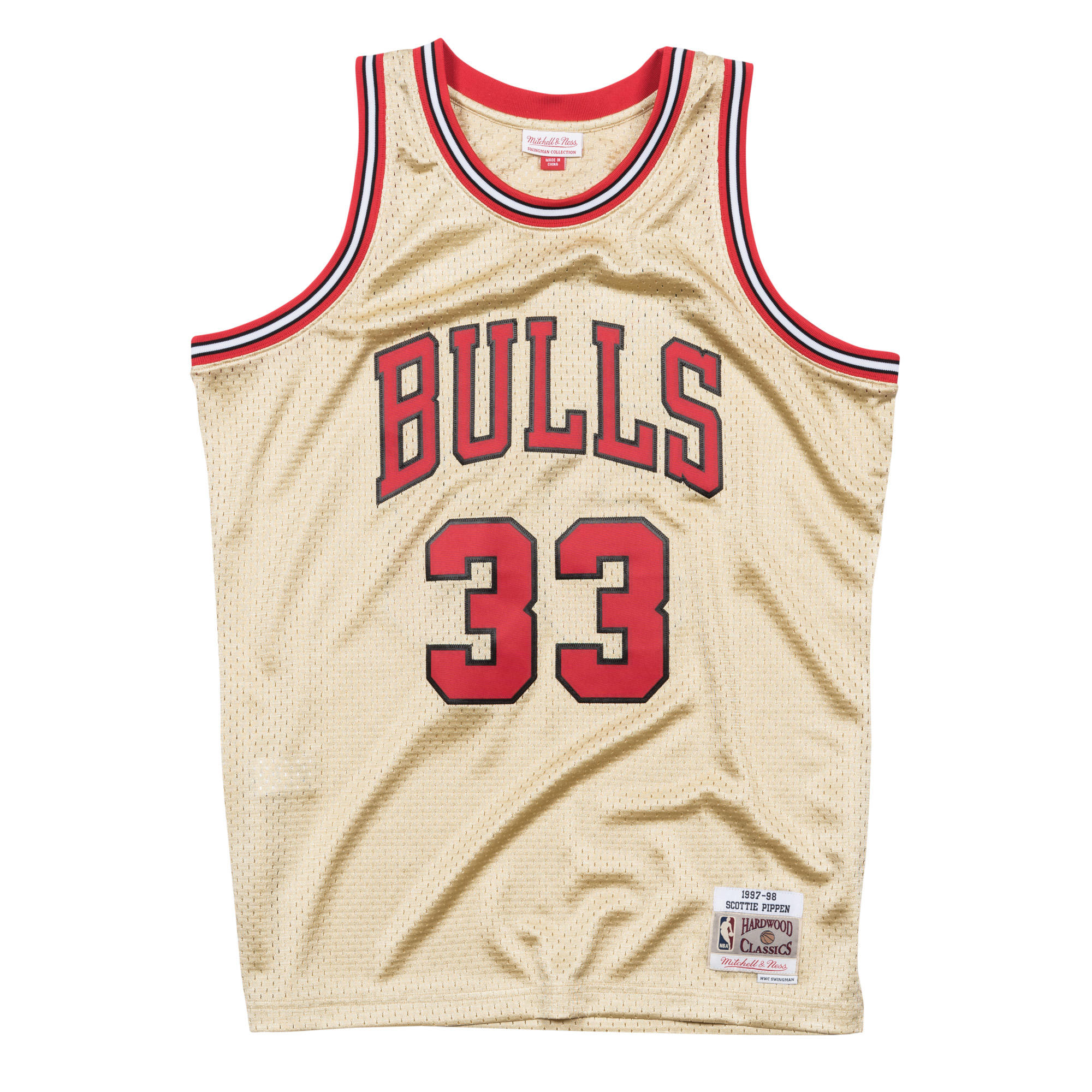 96495a8a4f57 Scottie Pippen 1997-98 Gold Swingman Jersey Chicago Bulls