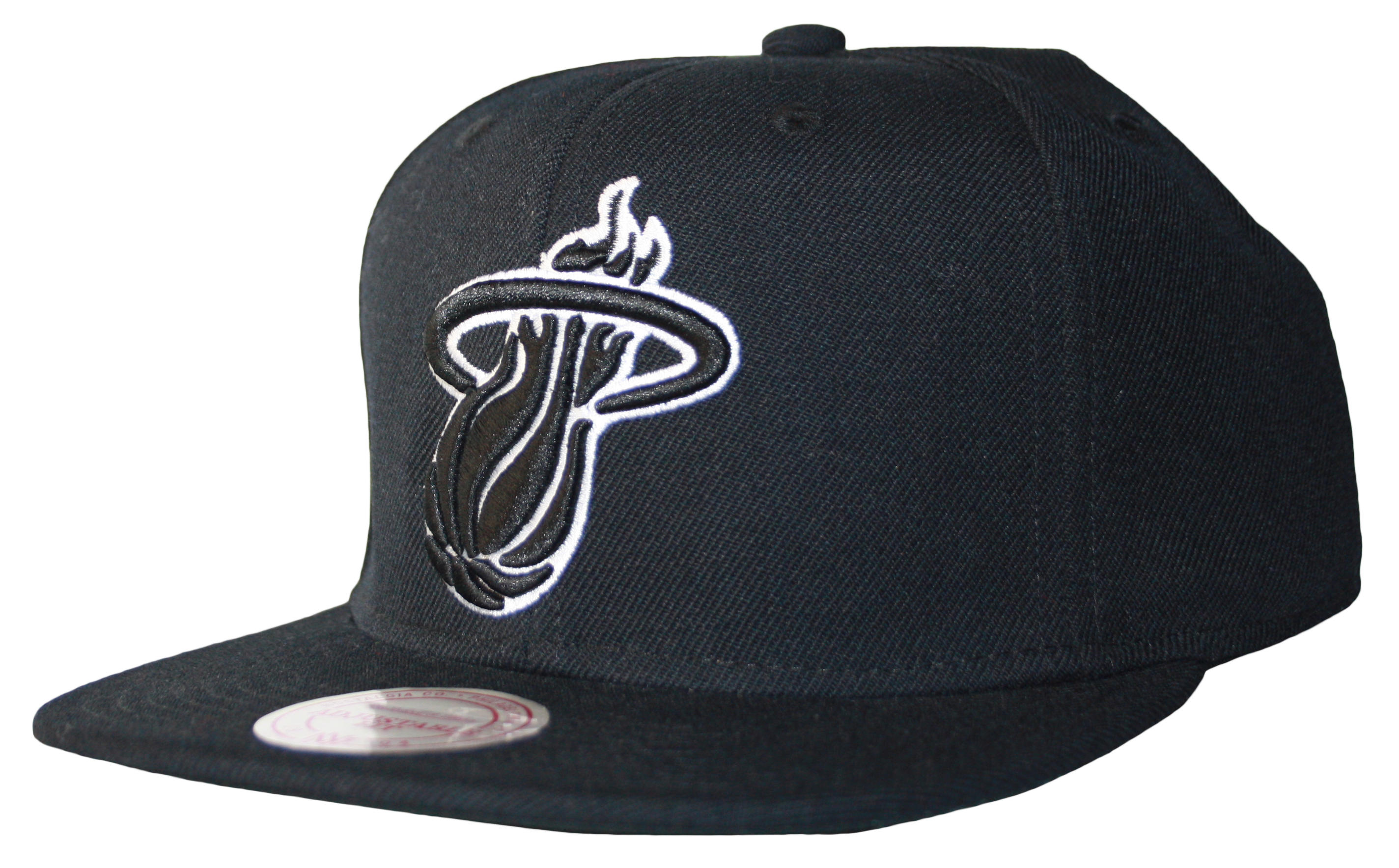 919b25cd06973 Mitchell   Ness Miami Heat Black White Logo Series Snapback