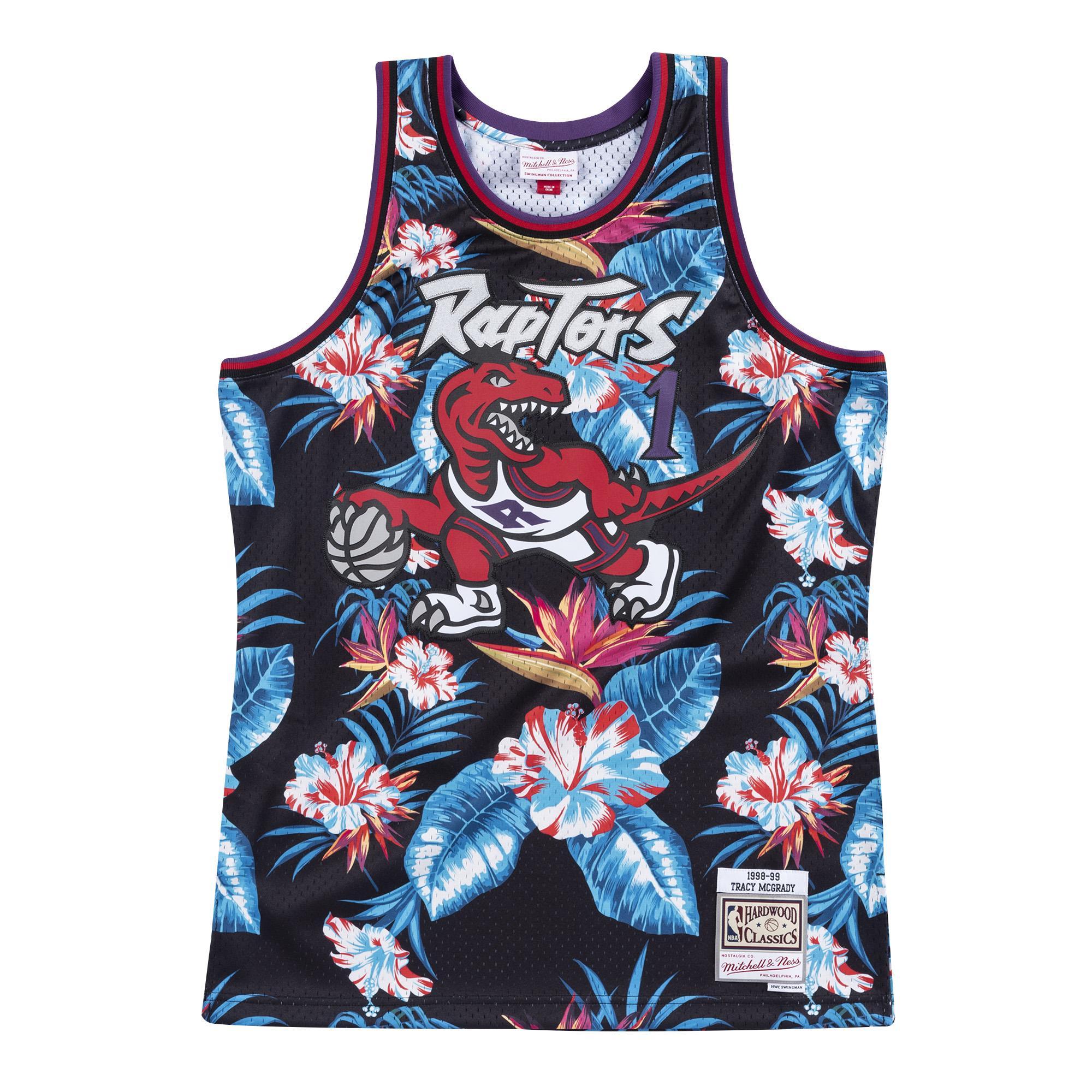 cheaper a3754 b780b Mitchell & Ness   Toronto Raptors Floral Black Swingman ...