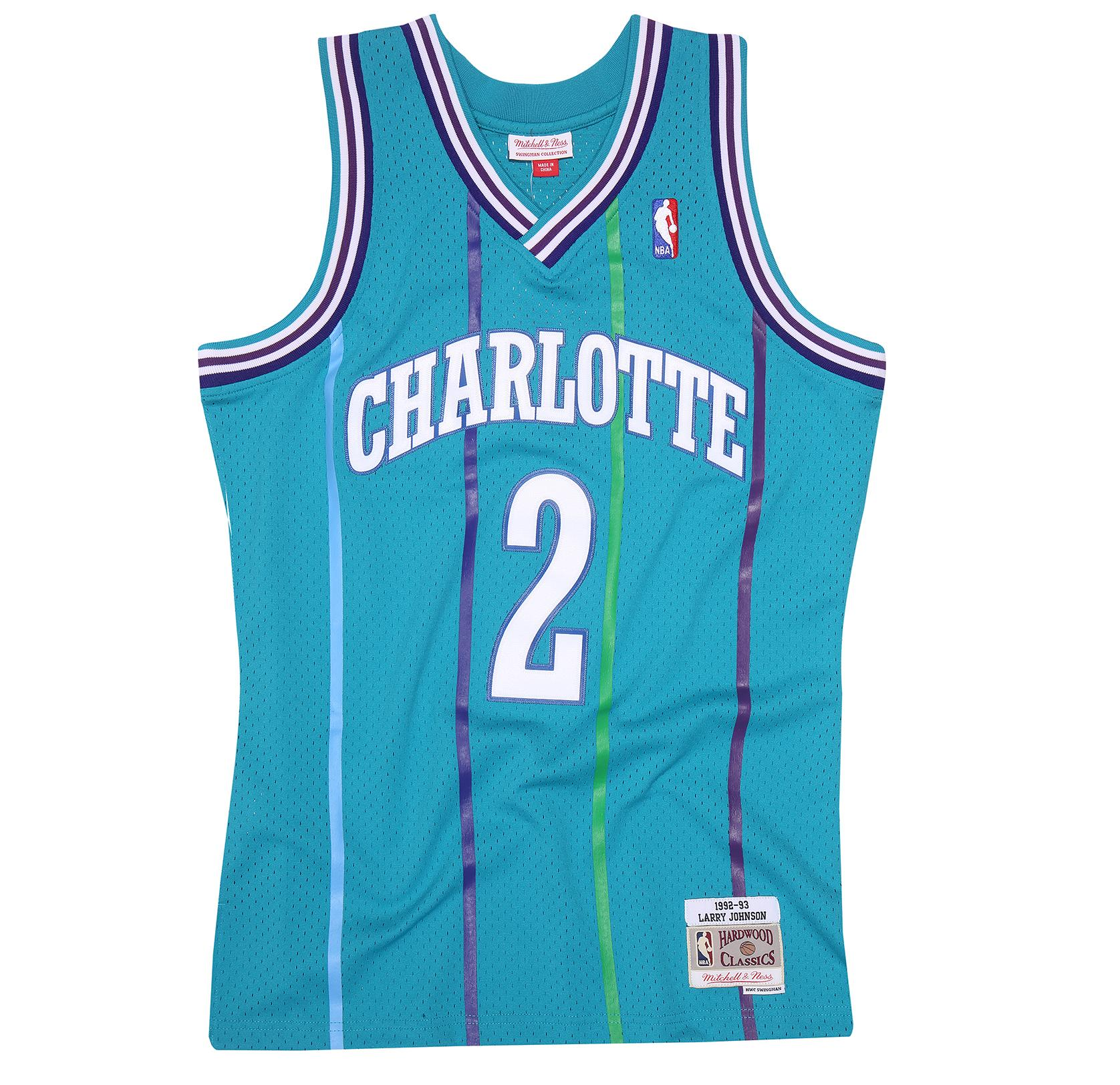 sports shoes d2ab5 6c2ee Mitchell & Ness | Charlotte Hornets Green Larry Johnson 1992 ...