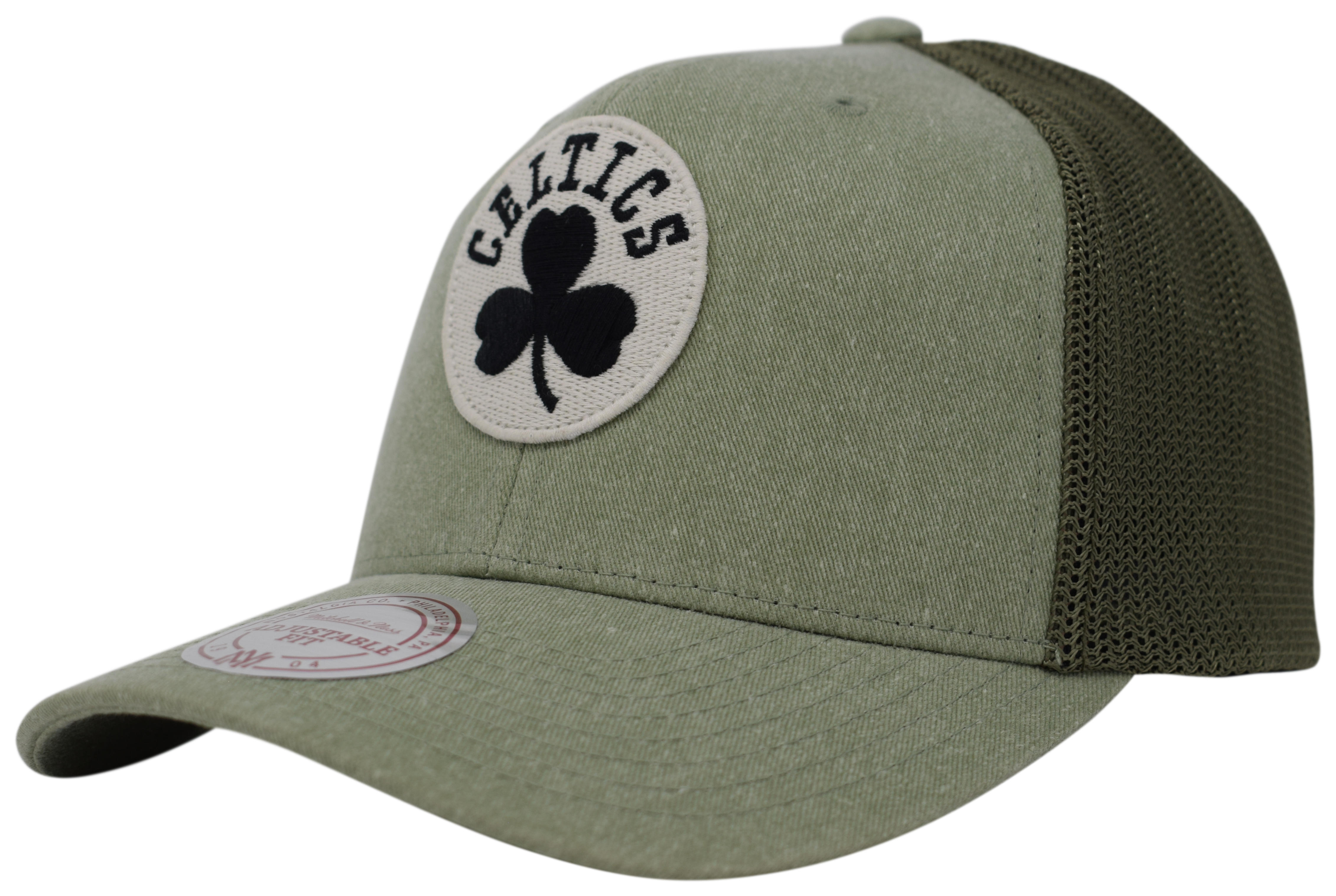 8237b55f Mitchell & Ness | Boston Celtics Olive Washout 110 Flexfit Snapback