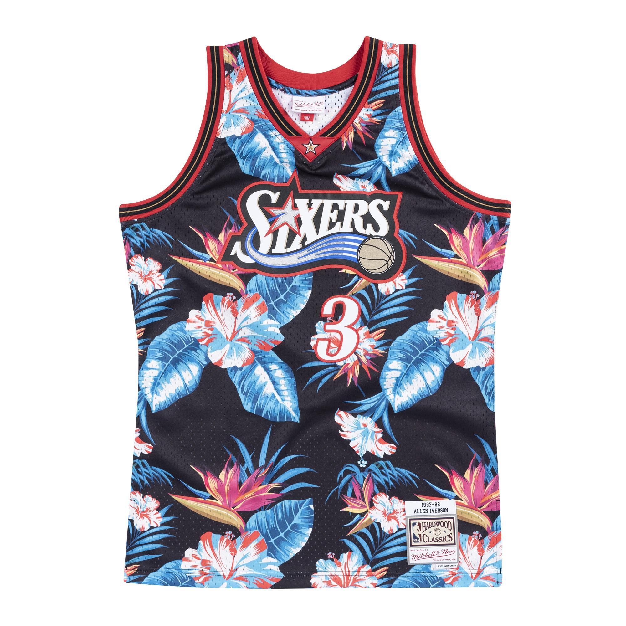 various colors 3f714 b7038 Mitchell & Ness | Philadelphia 76ers Floral Black Swingman ...