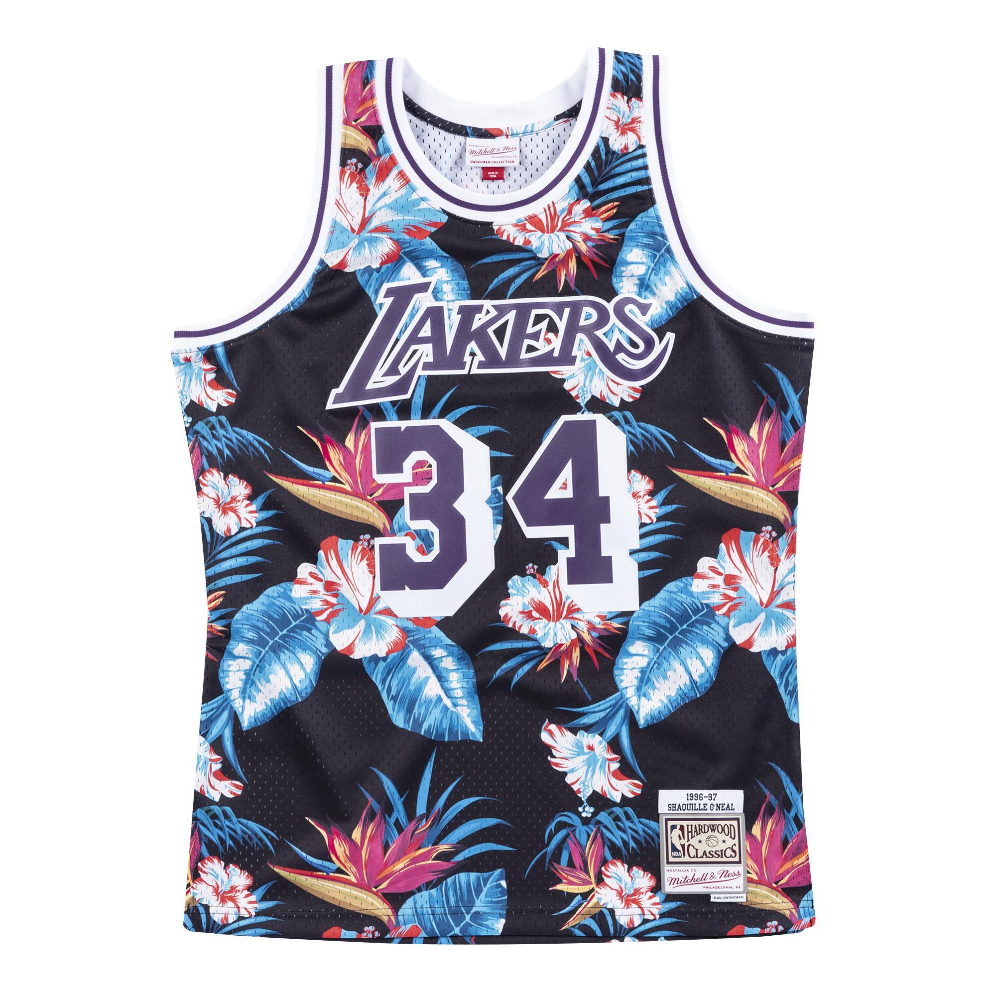 watch df9a3 16745 Mitchell & Ness | LA Lakers Floral Black Swingman Jersey ...