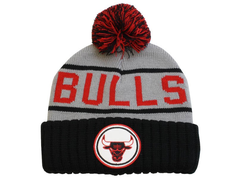 3d6c62c31ac ... black. loading zoom 63cdb a464e  new arrivals mitchell and ness chicago  bulls grey high 5 cuff pom knit hat 13baa 85ceb