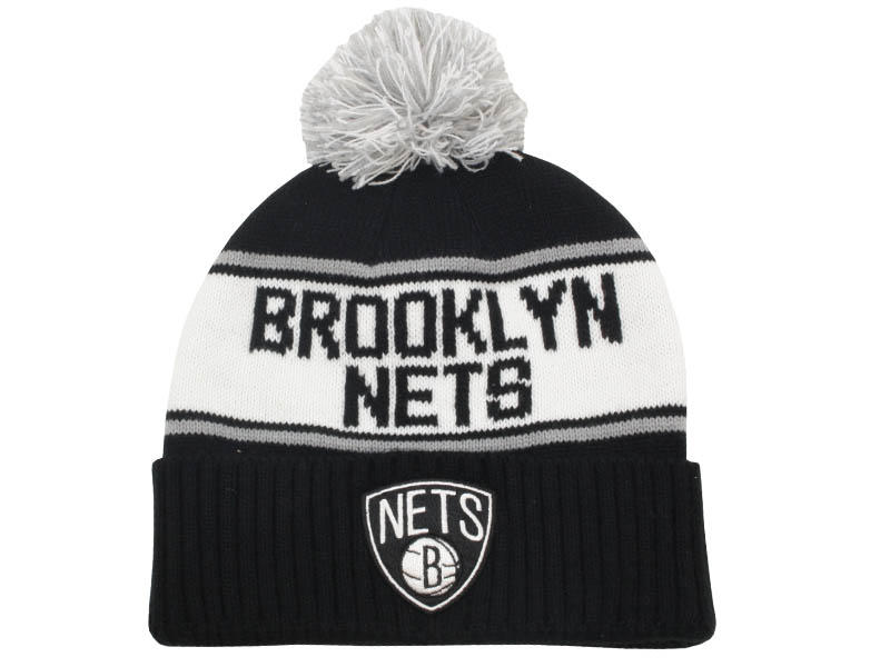 21309048cf4 Wordmark Cuff Pom Knit Hat Brooklyn Nets