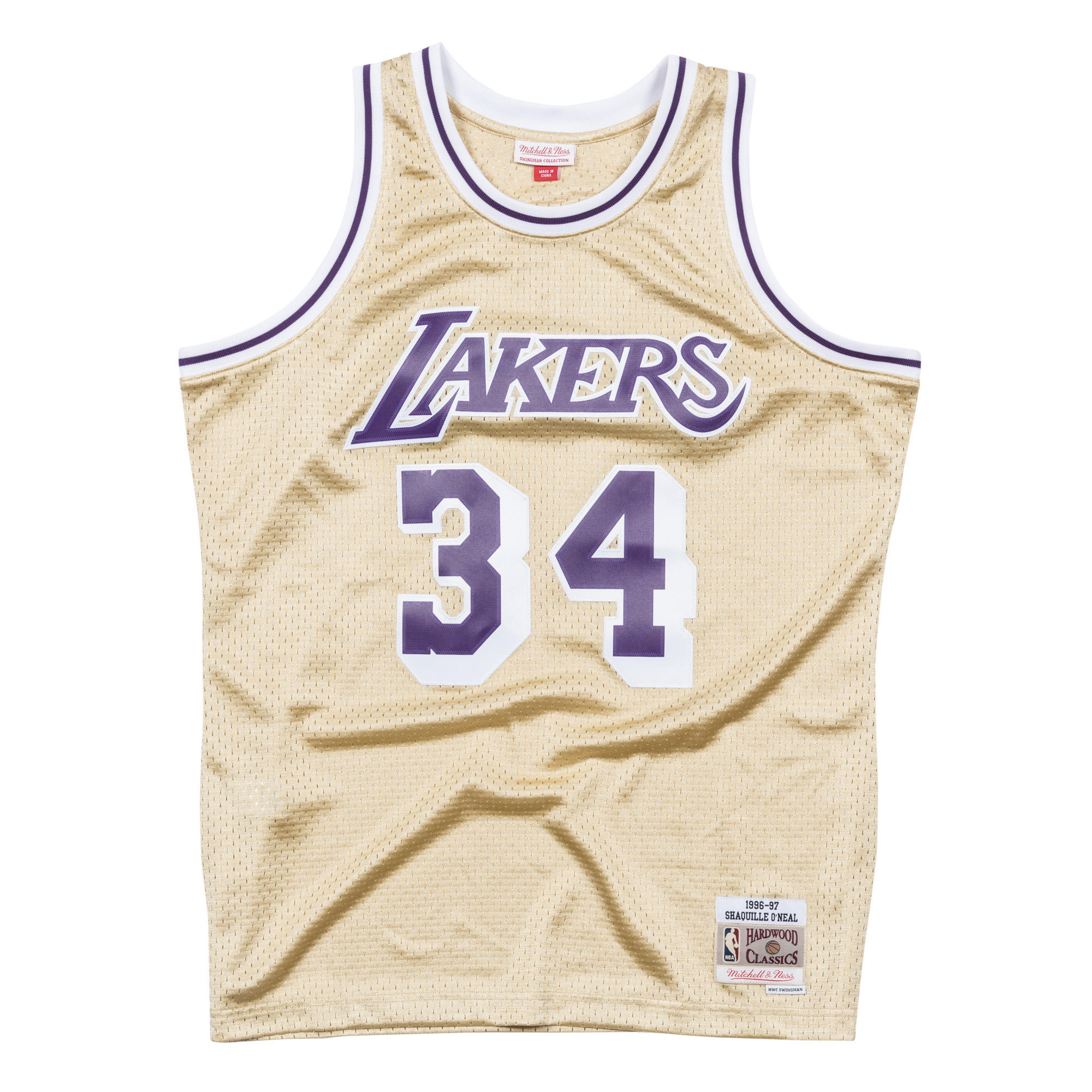 617955a63 Shaquille O Neal 1996-97 Gold Swingman Jersey LA Lakers