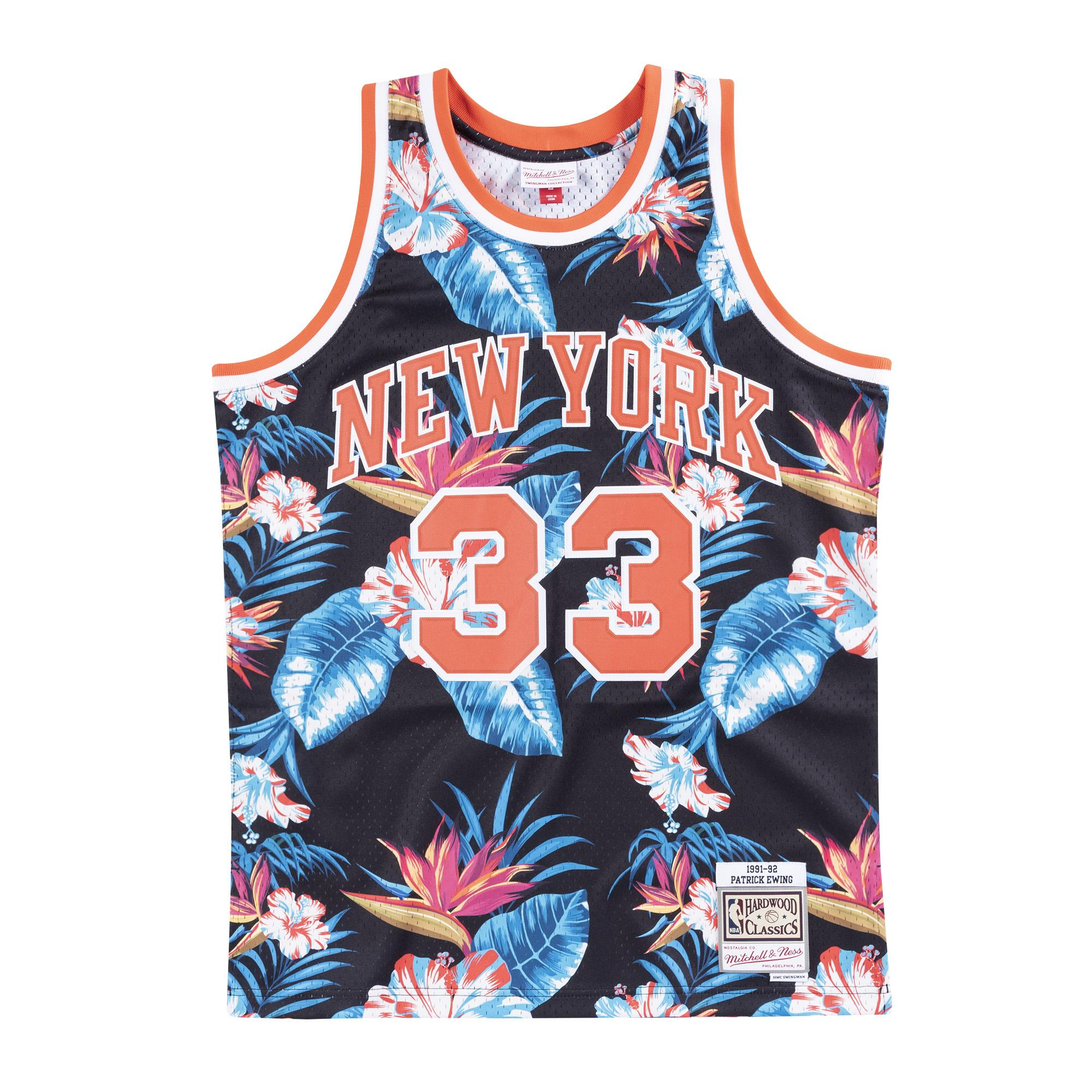 lowest price 3e866 2a1a2 Mitchell & Ness | New York Knicks Floral Black Swingman ...