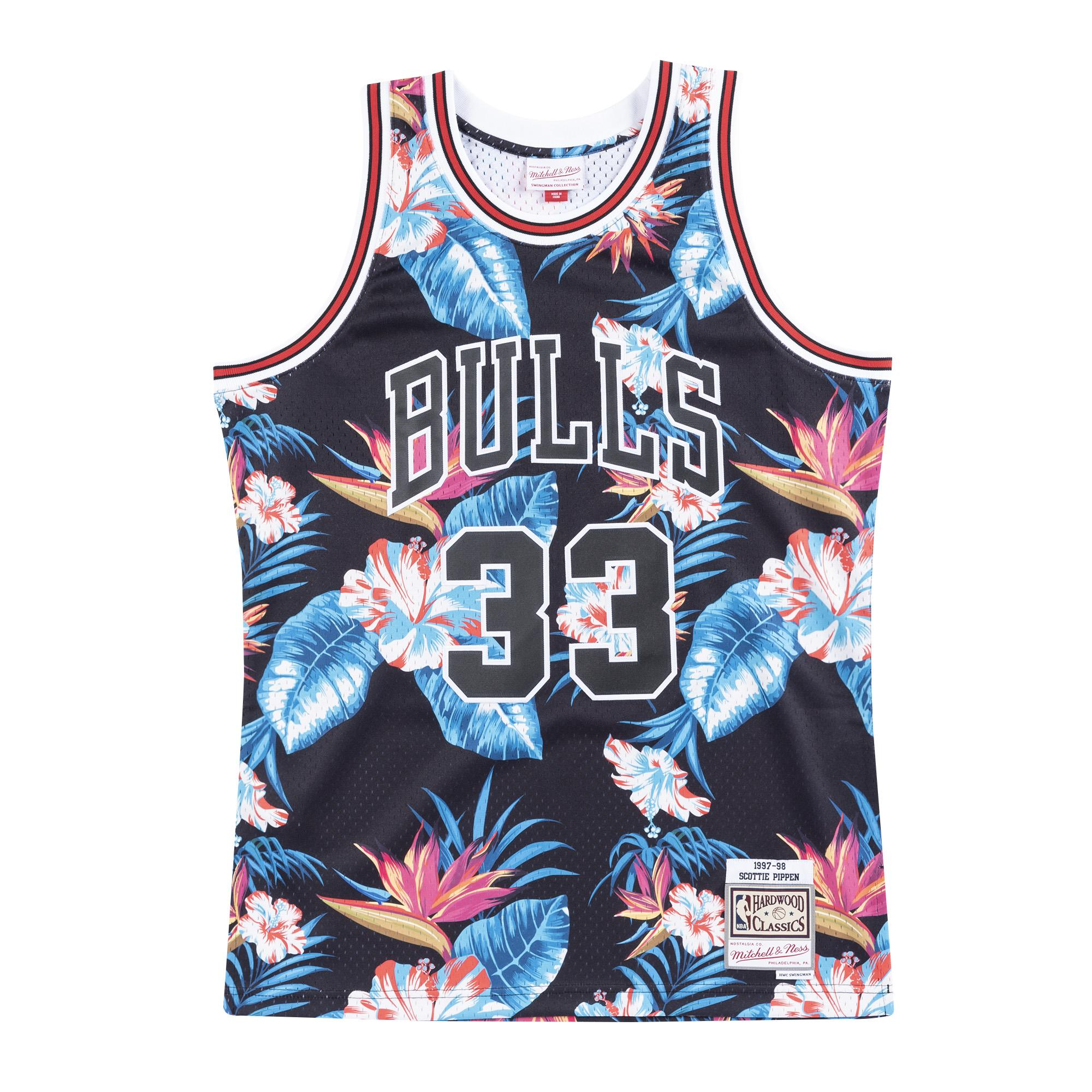 reputable site 109e6 7e5e2 Mitchell & Ness | Chicago Bulls Floral Black Swingman Jersey ...
