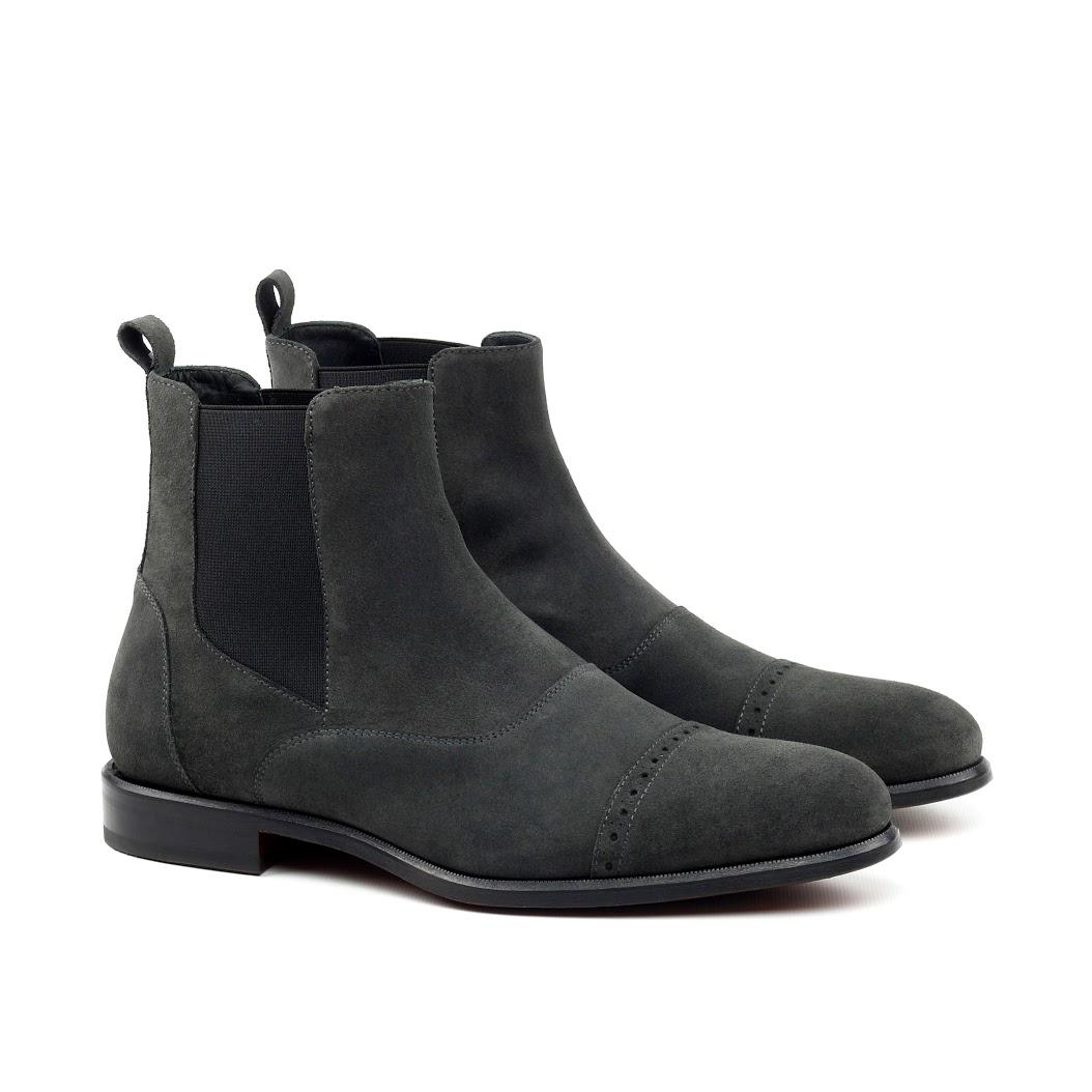 Manor Of London Grey Suede Chelsea Boot