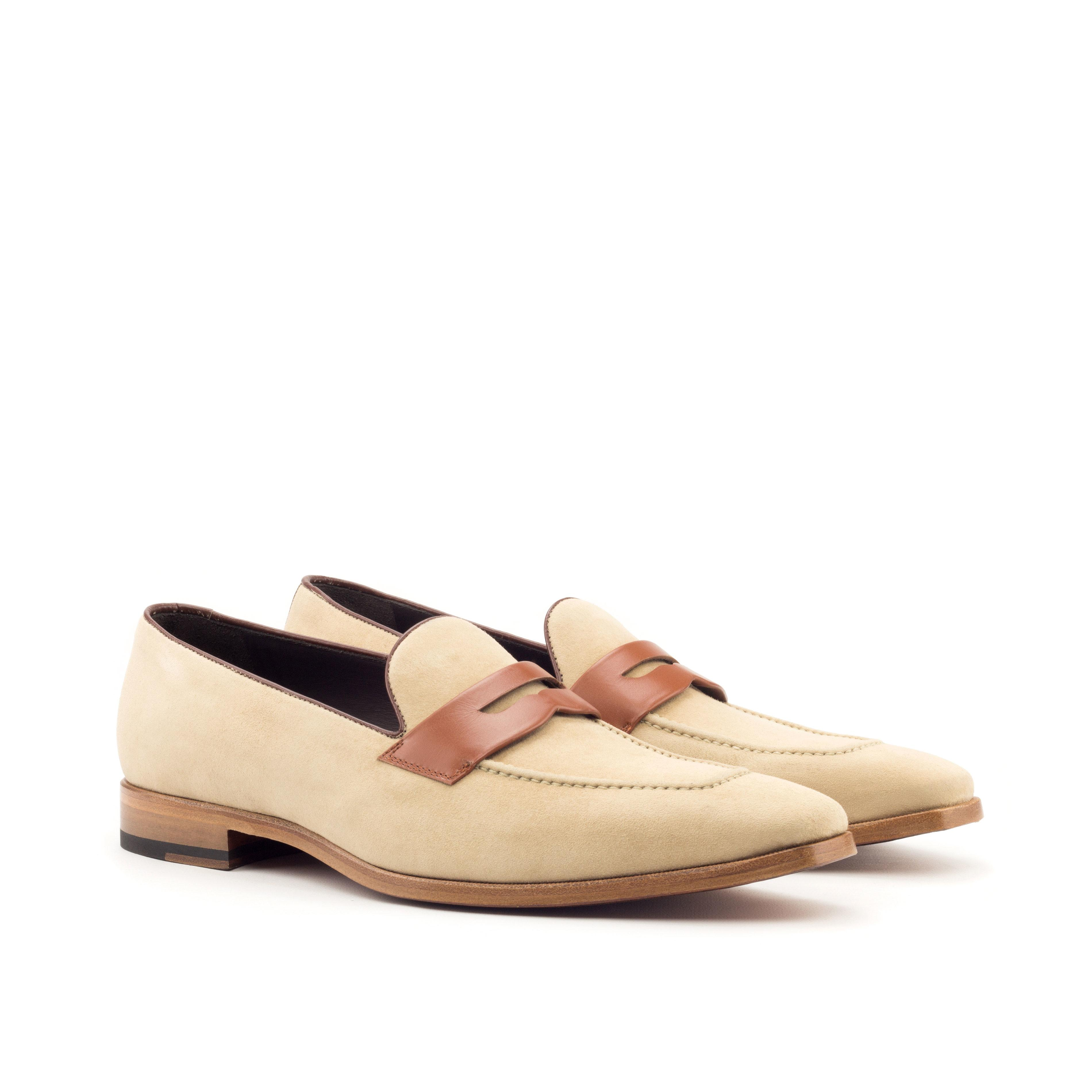 d903d3d36c3 Manor of London Taupe Suede Penny Loafers with Cognac Calf Mask