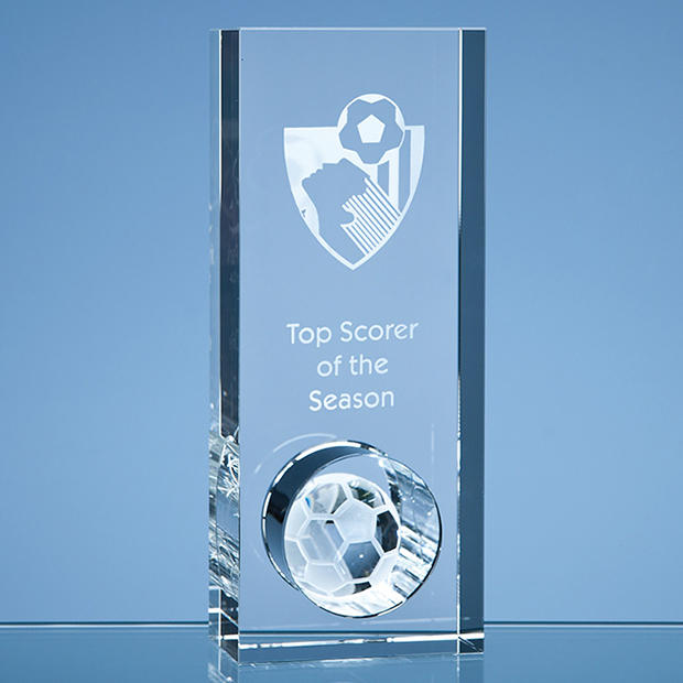 Personalised Glass Football Trophies & Awards