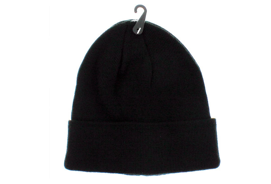 d4899f87789 Plain Black Folded Beanie Hat