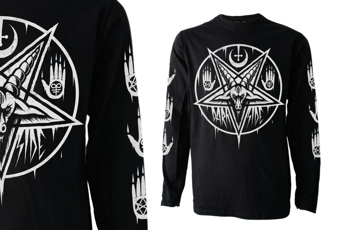 Pentagram Baphomet Darkside Long Sleeve Men's T-Shirt