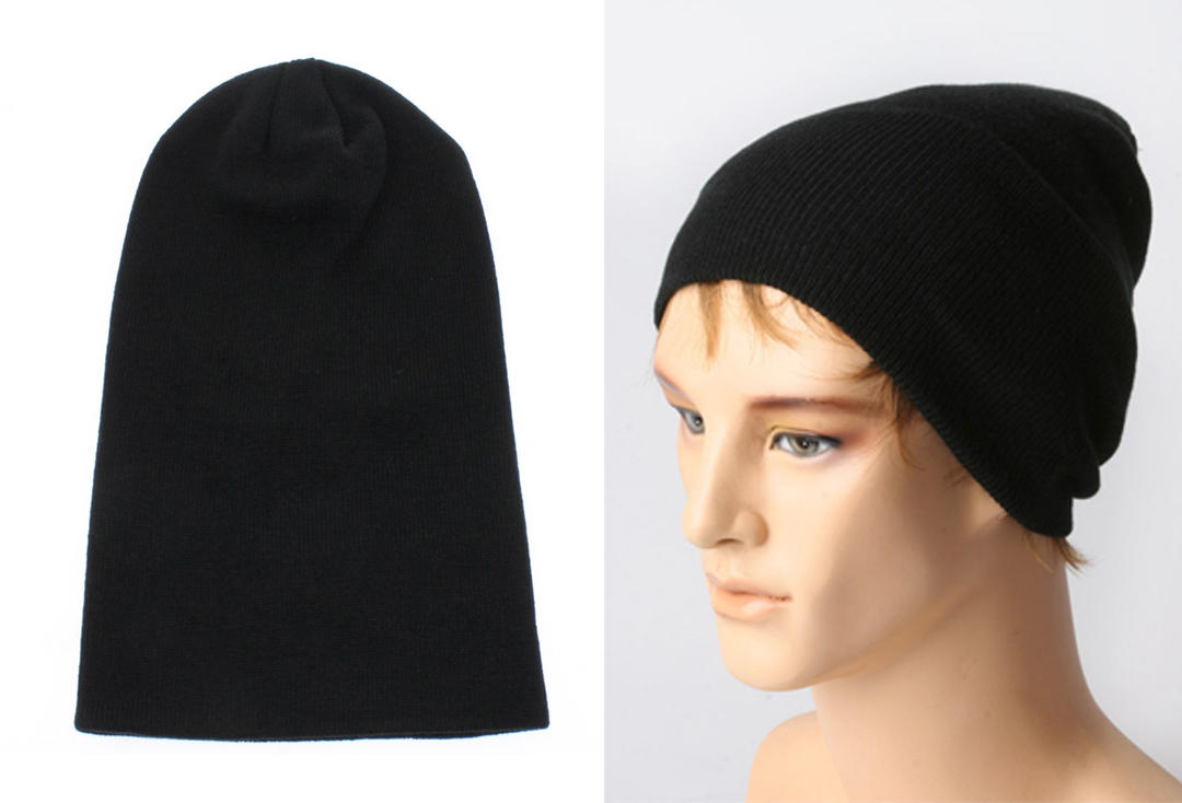 9256781aba5 Plain Black Long Beanie Hat