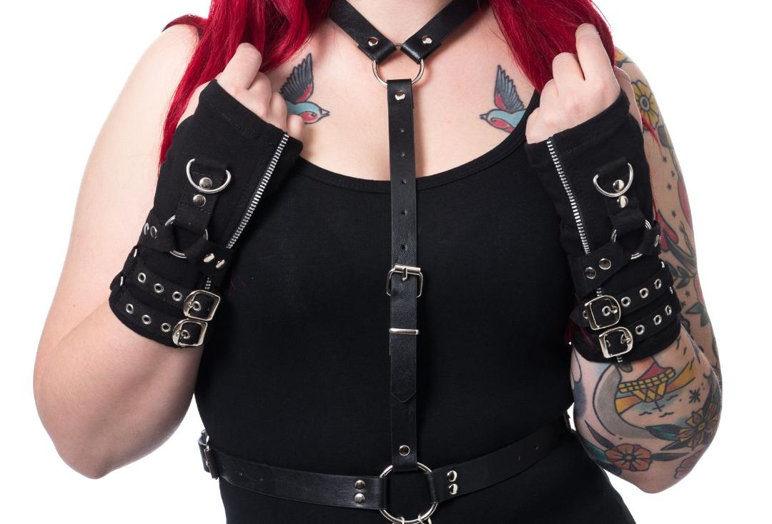 POIZEN INDUSTRIES BUCKLE ARM WARMERS WOMEN black GOTHIC