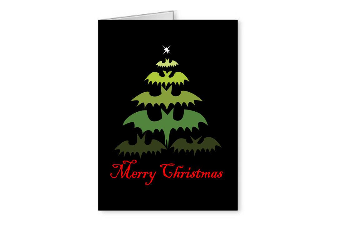 Bat Tree Christmas Greetings Card