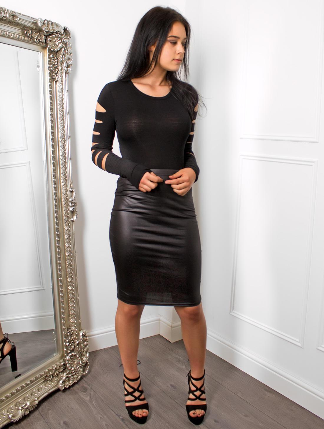 Black Leather Look Midi Skirt | Skirts | ShesLovely.co.uk