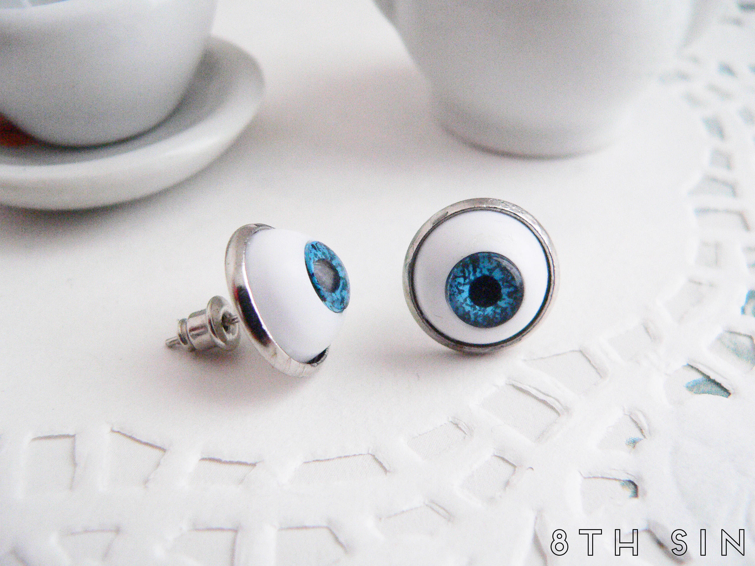antique silver and blue eyeball earrings