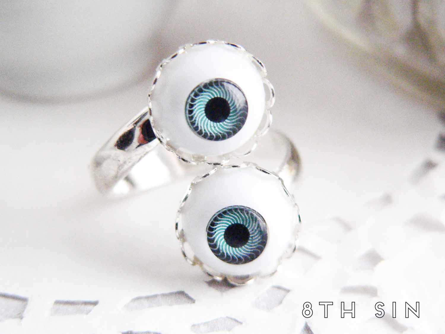 antique silver double eyeball ring
