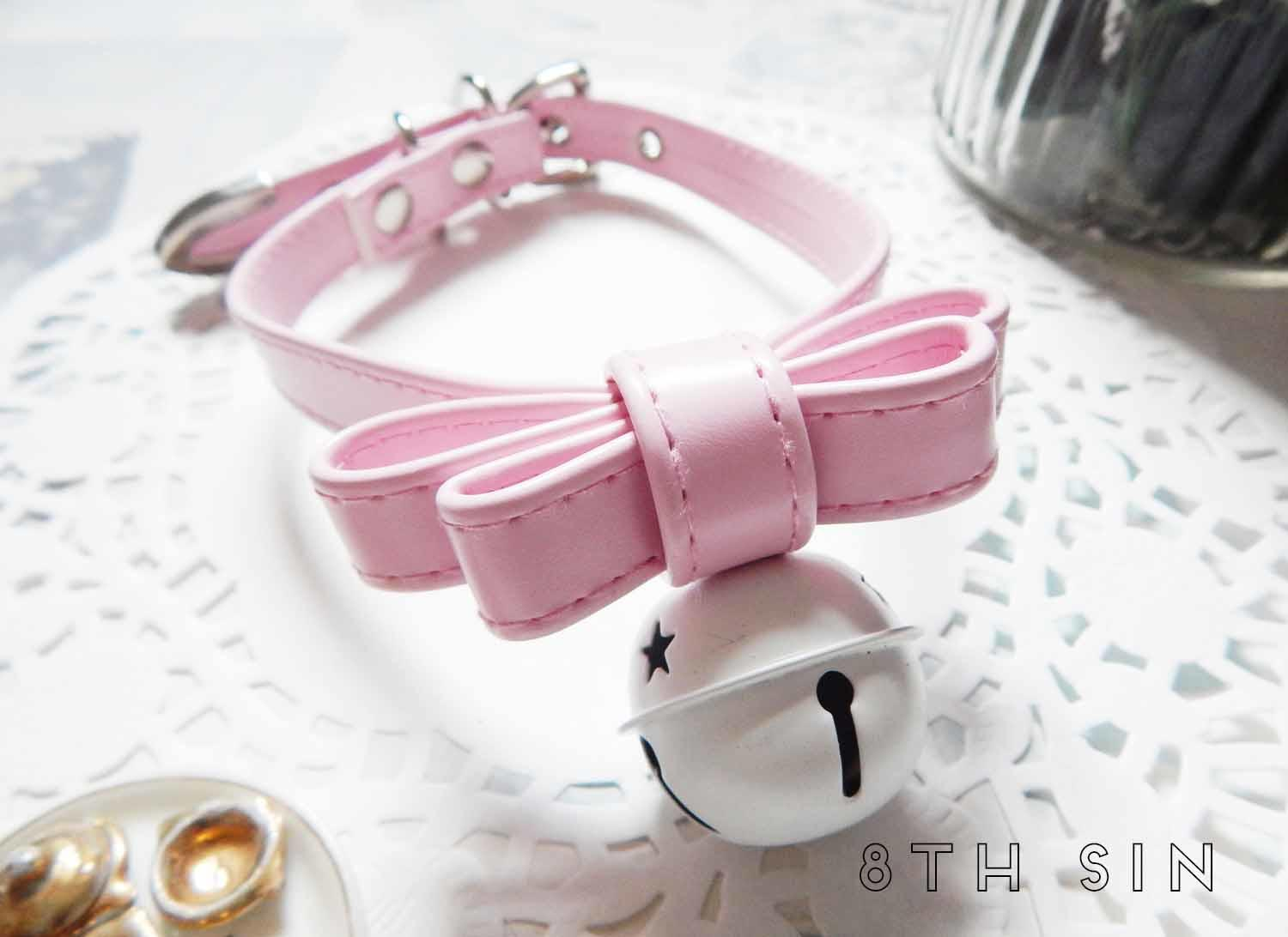 pink leather bow and bell choker