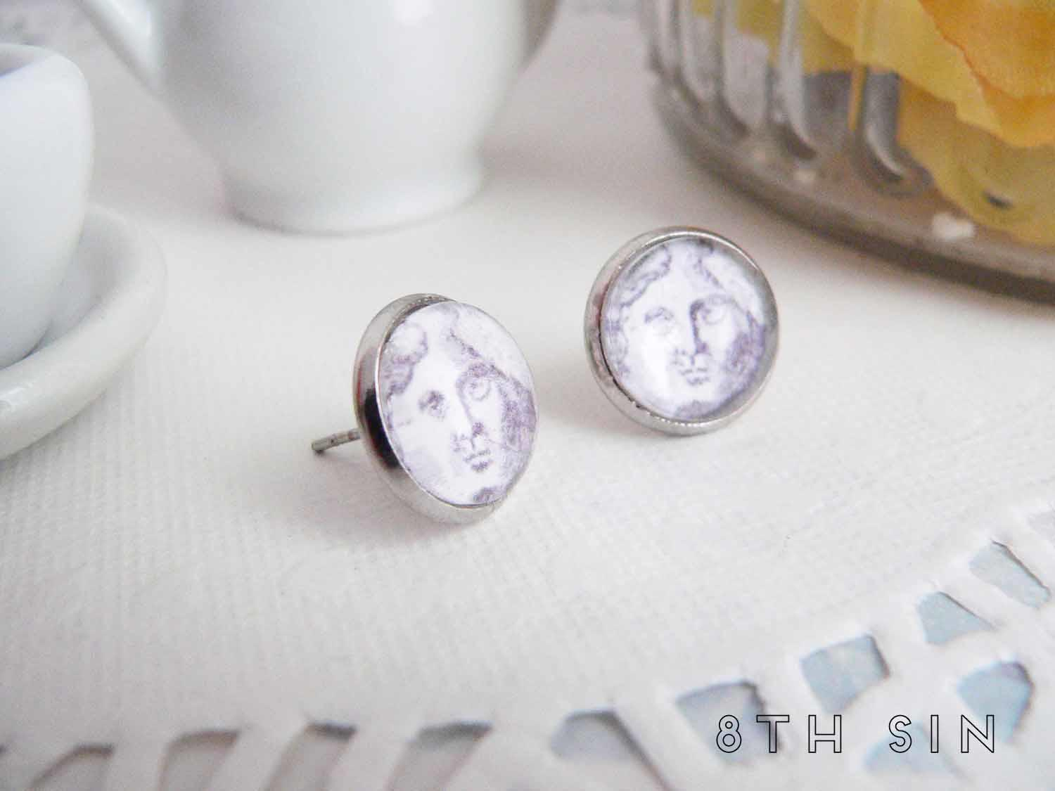 antique silver moon stud earrings
