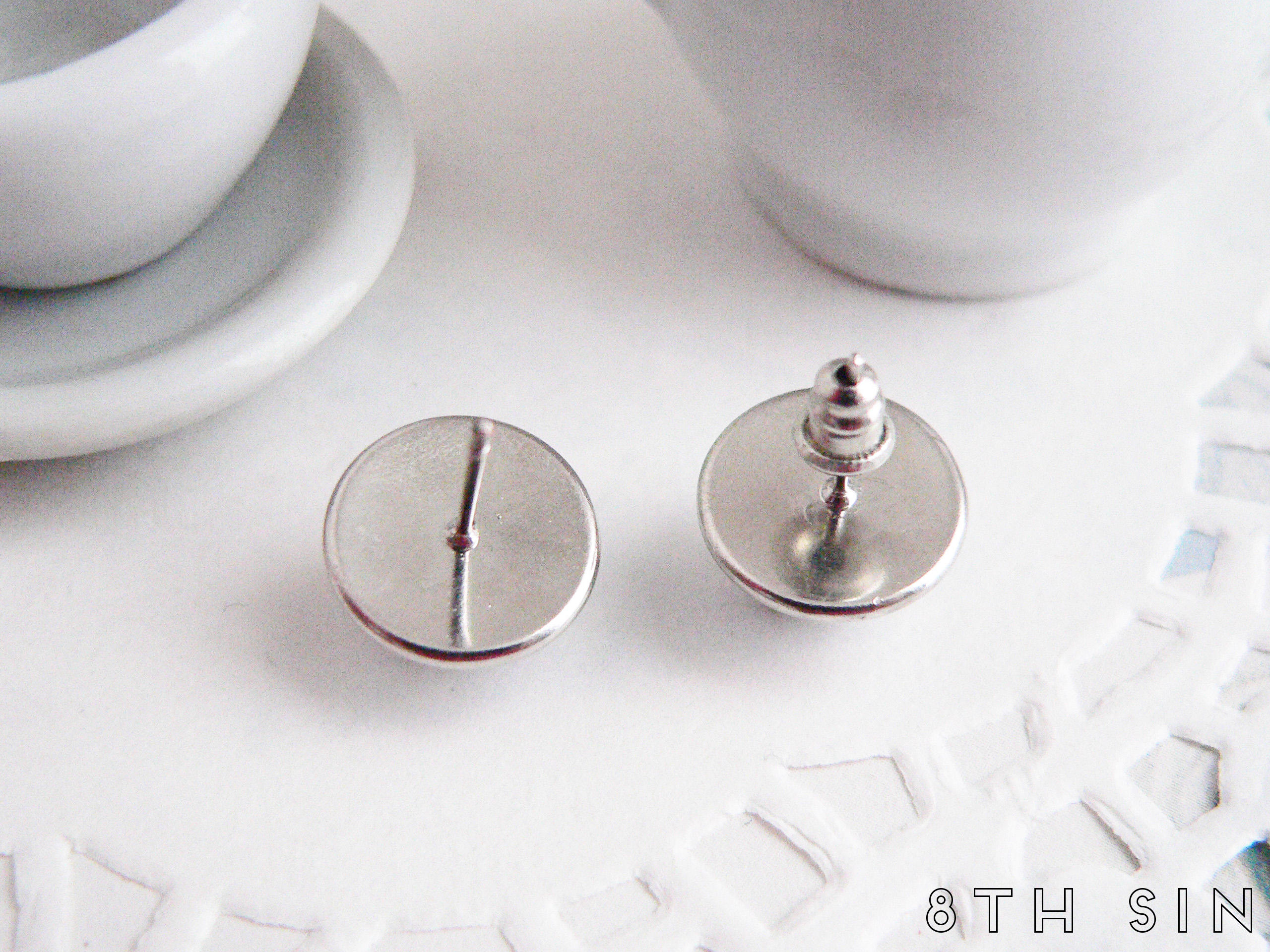 antique silver sun and moon stud earrings