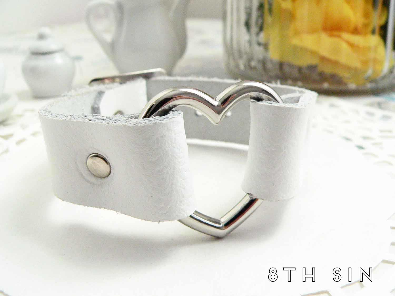white heart ring wristband