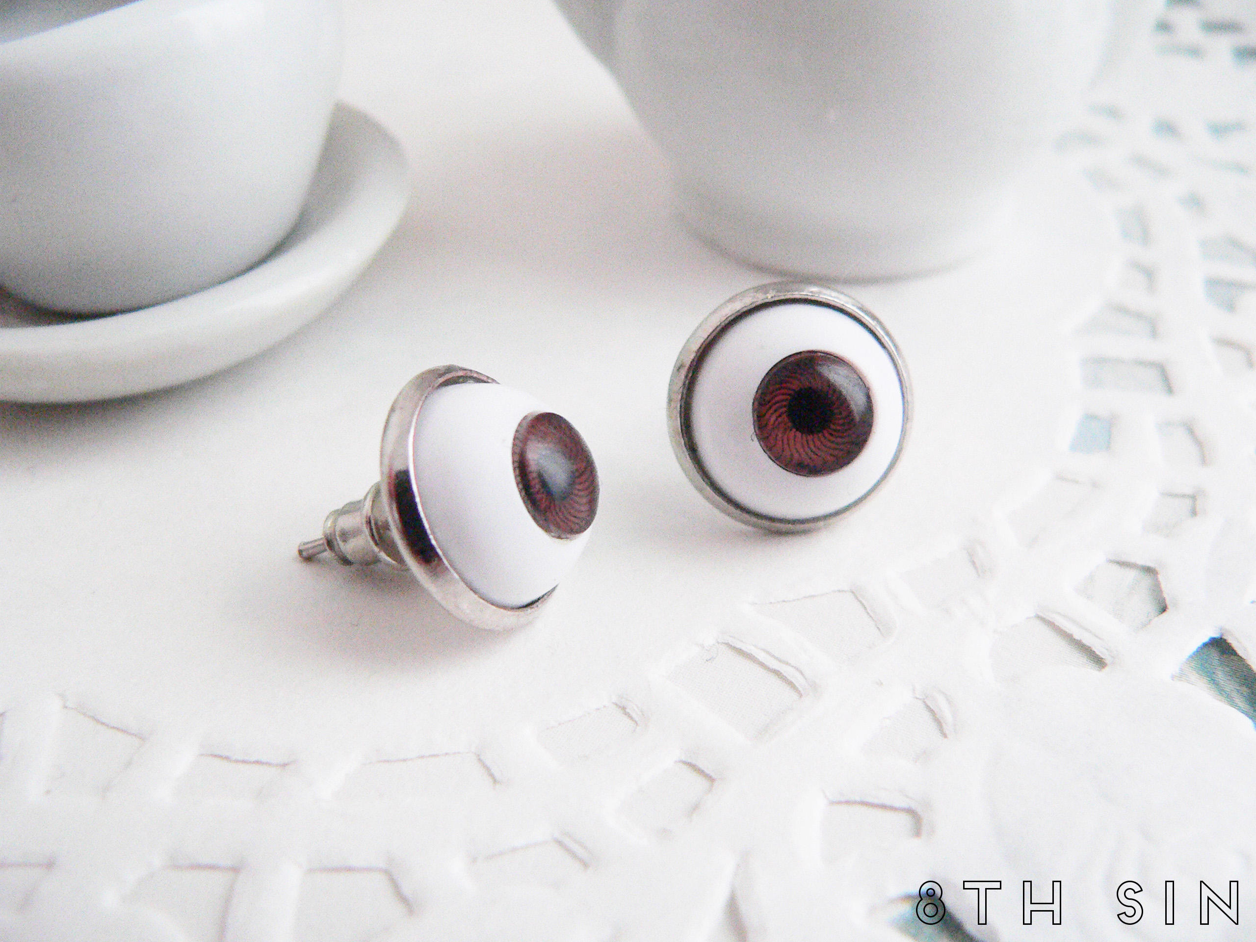antique silver and brown eyeball earrings