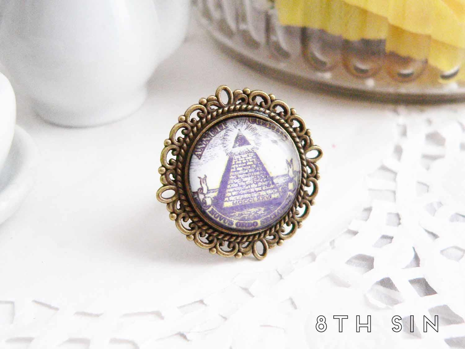 antique bronze all seeing eye ring