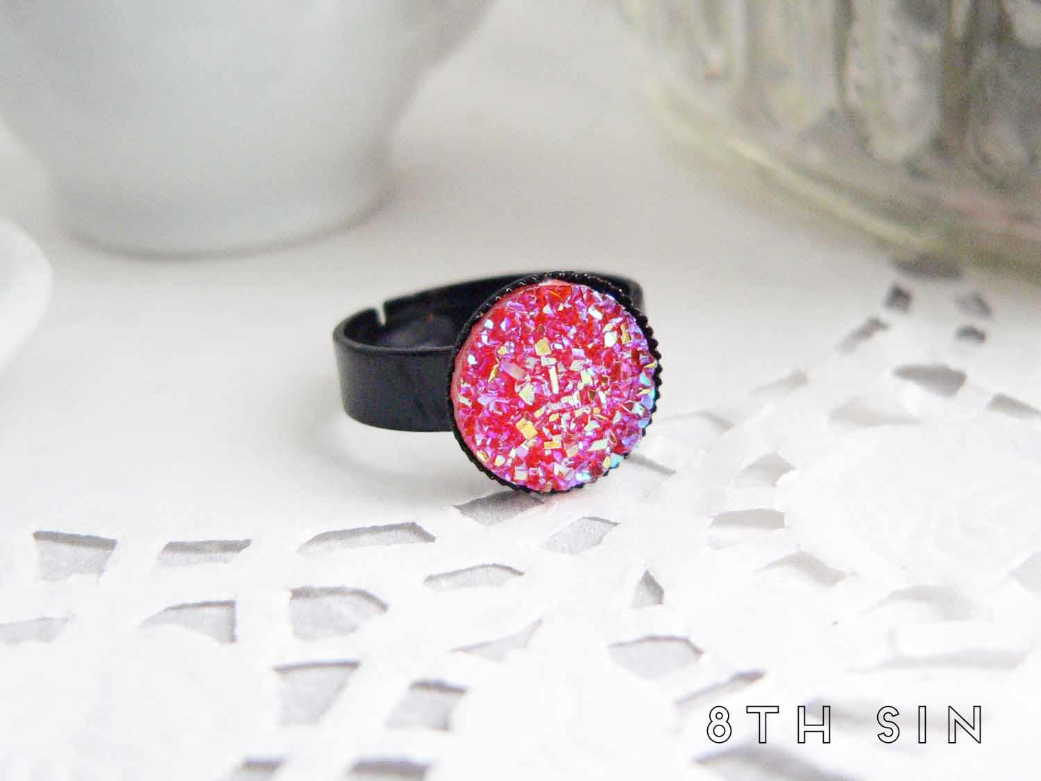 black and pink druzy ring