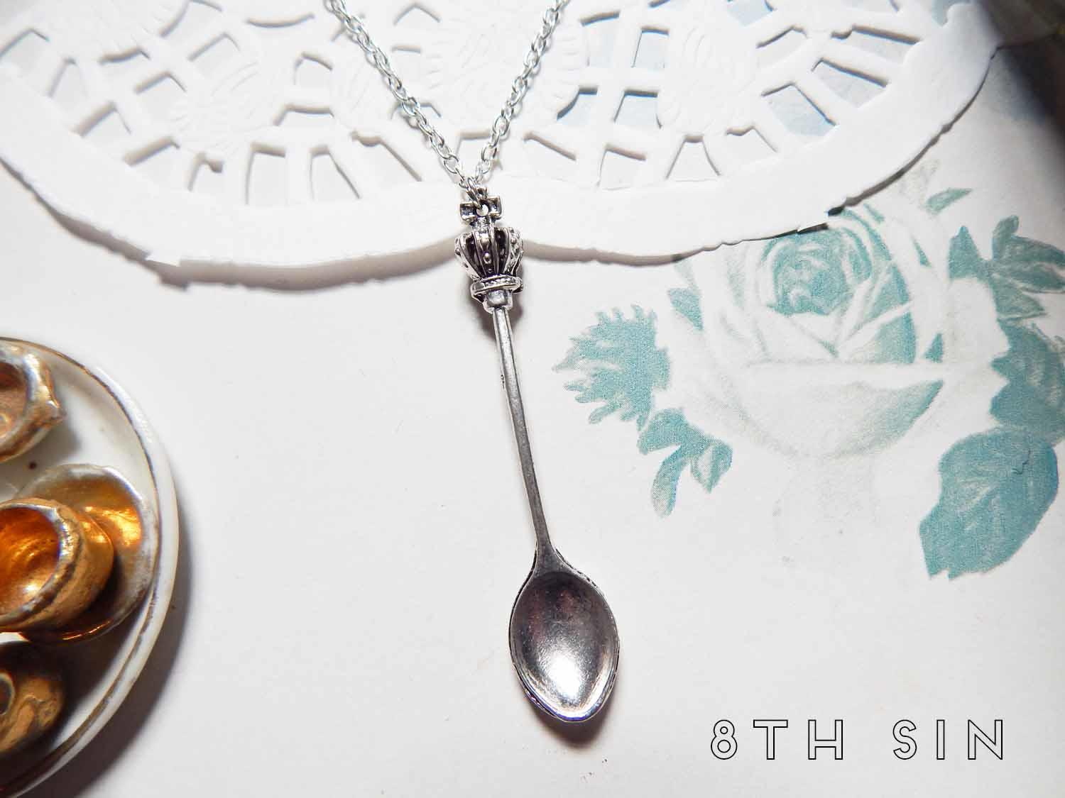 antique silver tea party spoon necklace