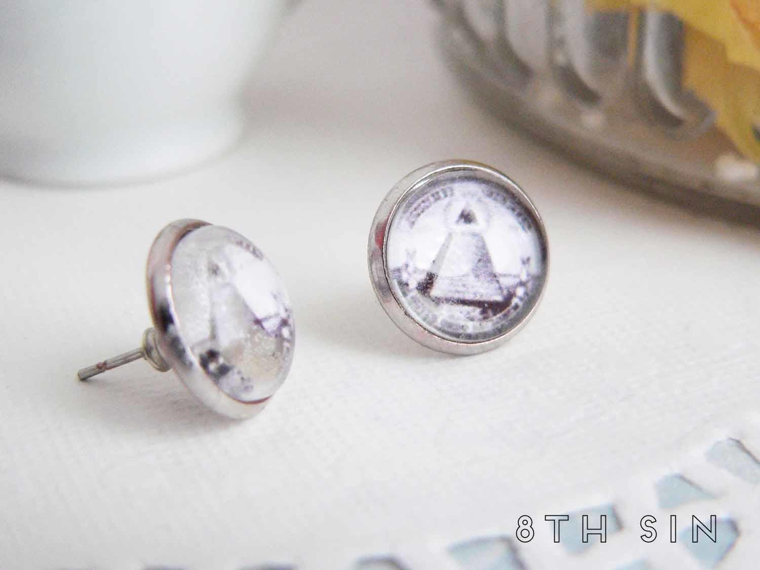 antique silver all seeing eye stud earrings