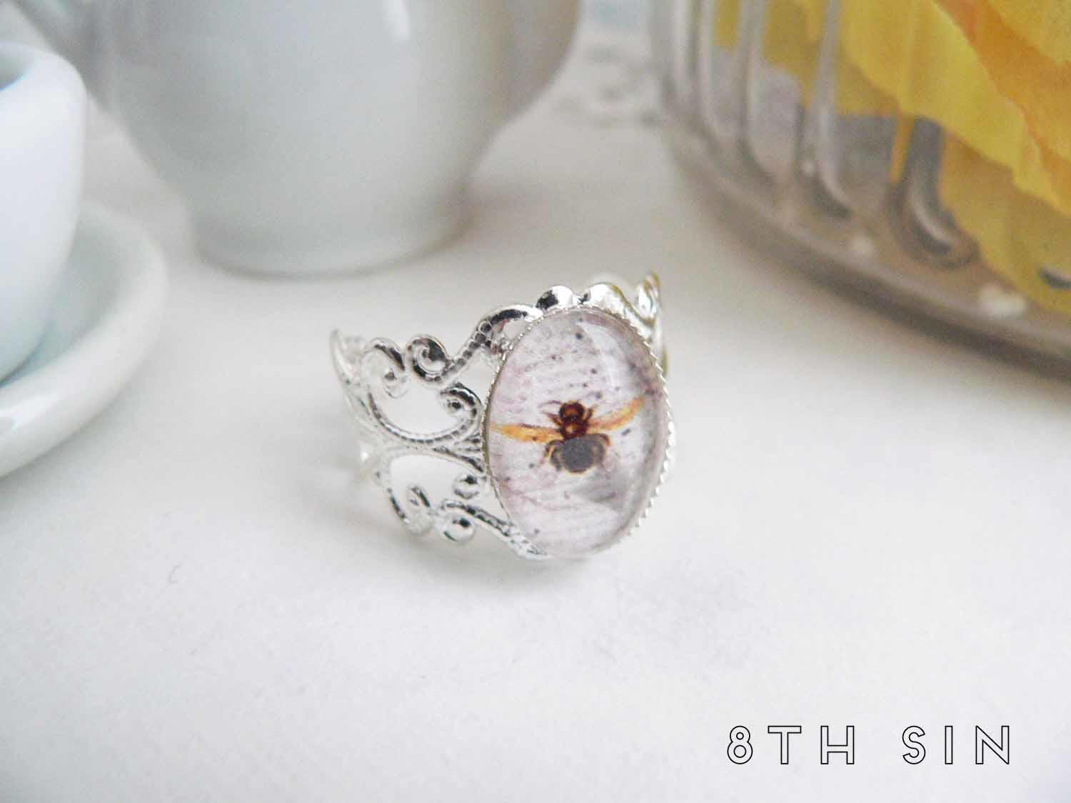 antique silver bee ring