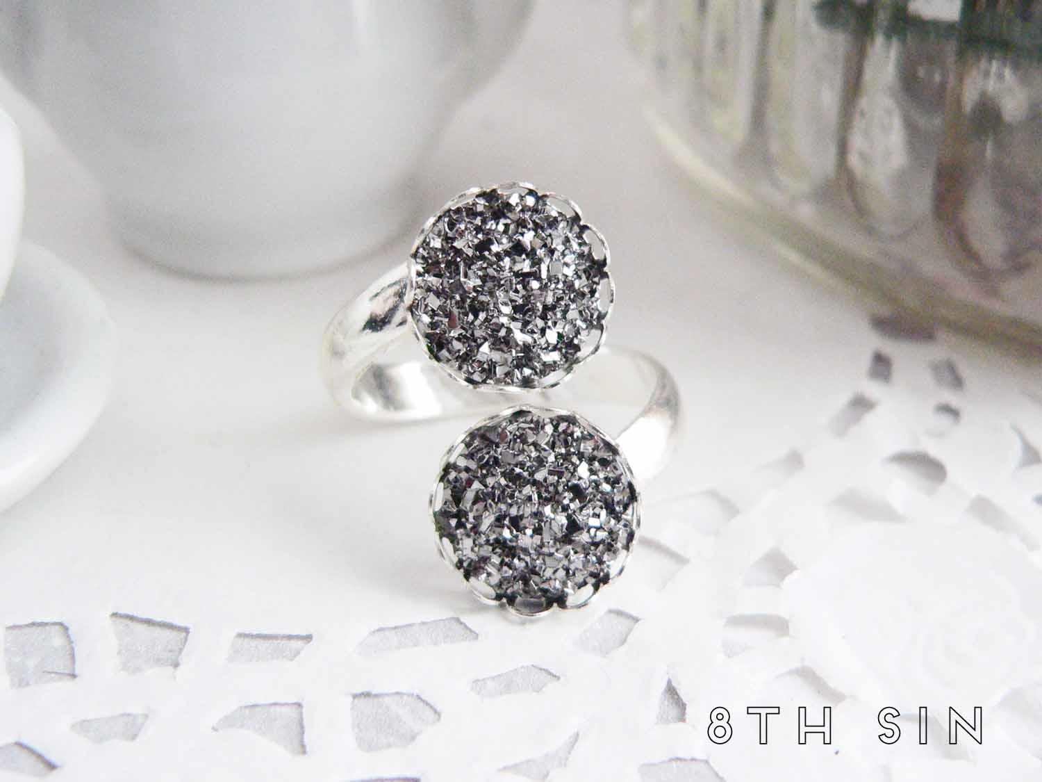 antique silver double silver druzy ring