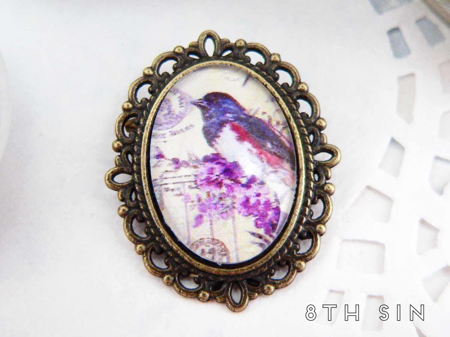 antique bronze bluebird brooch