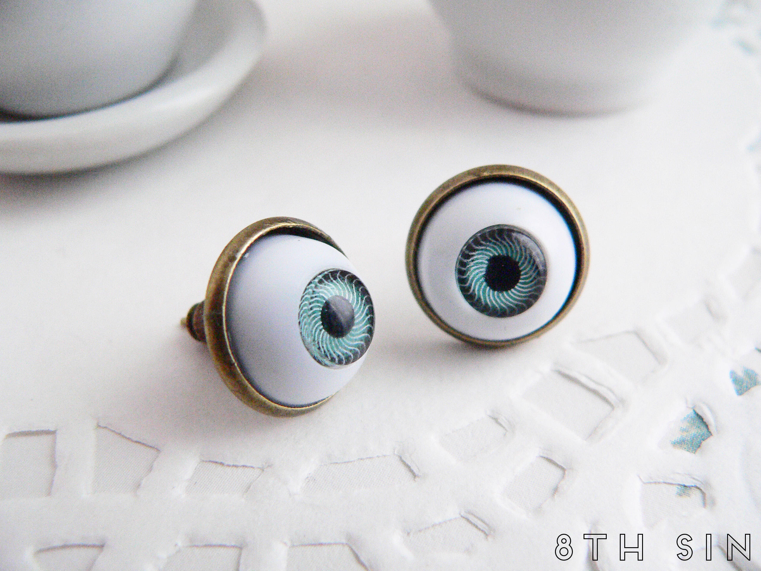 antique bronze and blue eyeball earrings